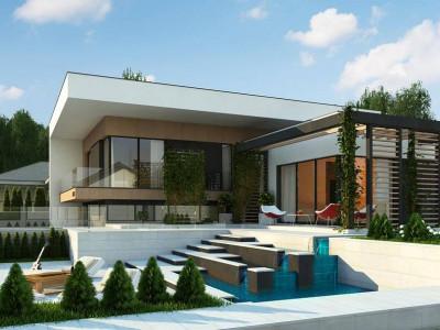 Zx151 - Проект современного двухэтажного дома с большой площадью. остекления.