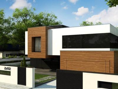 Zx152 - Двухэтажный коттедж с плоской крышей и большой террасой