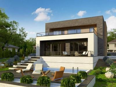 Zx155 - Двухэтажный современный дом в стиле модерн.
