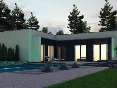 Zx160 - Современный одноэтажный дом с плоской крышей и гаражом.