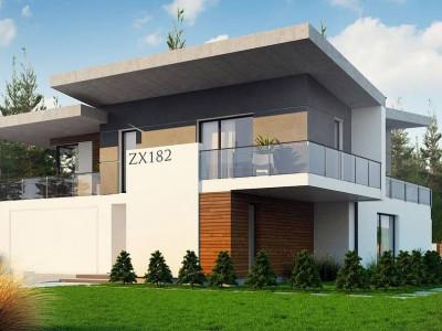 Zx182 - Просторный современный дом с плоской кровлей