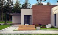 Zx183 - Одноэтажный дом с плоской кровлей в современном стиле и навесом для двух машин