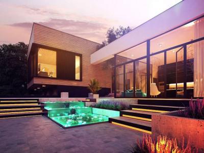 Zx190 - Проект современного дома с плоской кровлей и подземным гаражом.