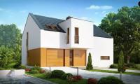 Z222 - Современный функциональный дом с гаражом, с оригинальным выступом над входом.