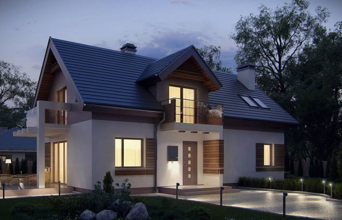 Z223 - Проект функционального уютного дома с мансардными окнами и оригинальной отделкой  фасадов.