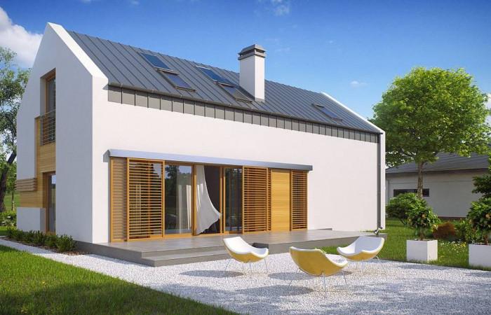 Z232 - Практичный дом с высокой мансардой, большой площадью остекления в гостиной.