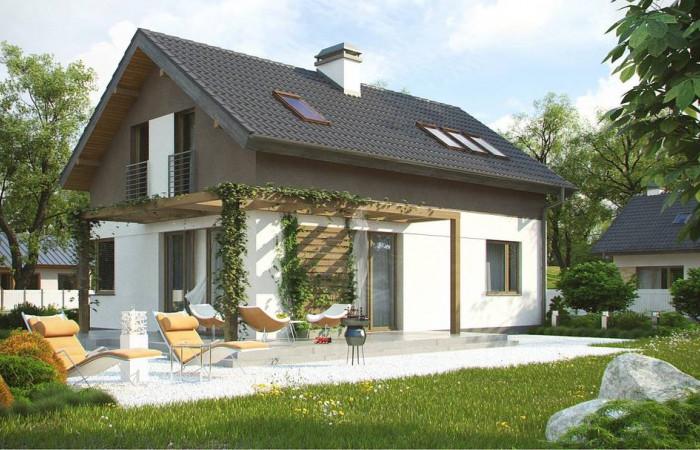 Z233 - Компактный дом простой формы с угловым окном в кухне и светлой гостиной.