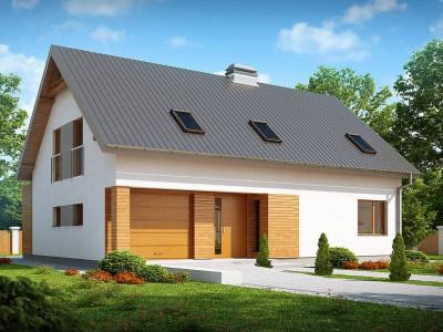 Z239 - Проект дома с мансардой, с большим техническим помещением и кабинетом на первом этаже.