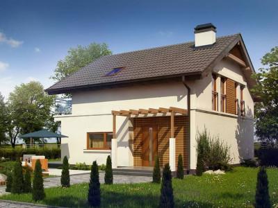 Z248 - Проект дома с мансардой, с высокой аттиковой стеной, с дополнительной комнатой на первом этаже.