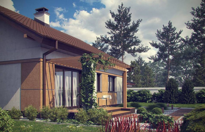 Z253 - Компактный, уютный одноэтажный дом с двускатной крышей.