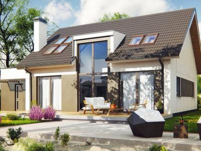 Z266 - Комфортный дом с оригинальным остеклением в гостиной и вторым светом.