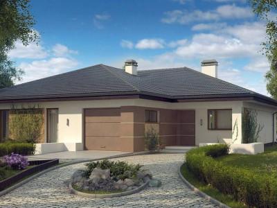 Z268 - Проект одноэтажного дома с многоскатной крышей и гаражом на одну машину.
