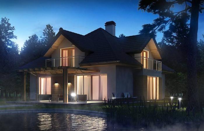 Z270 - Проект комфортного дома с фасадными окнами, с гаражом для двух автомобилей.
