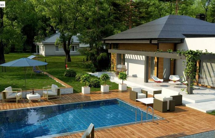 Z271 - Современный дом с остроконечной крышей бунгало