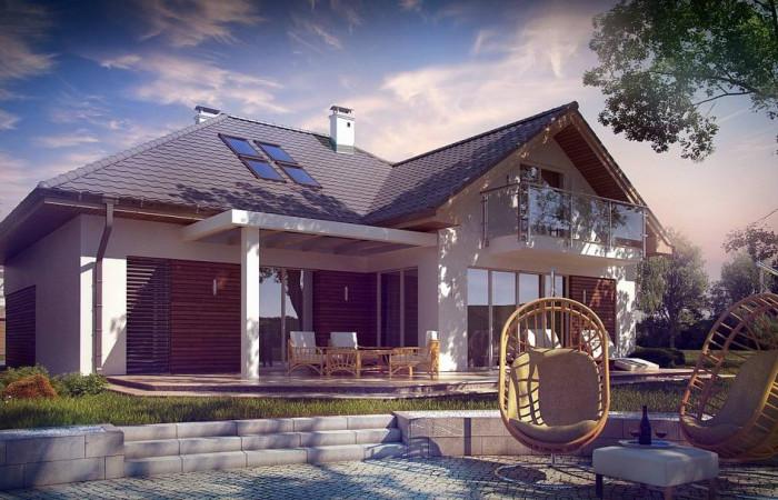 """Z275 - Дом в традиционном стиле """"L""""-образной формы с гаражом и фасадным окном."""