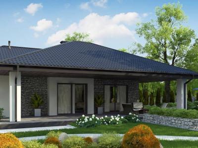 Z279 - Одноэтажный дом с каменной облицовкой фасадов