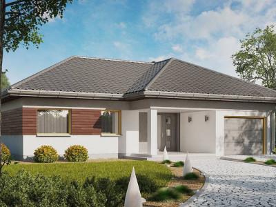 Z280 - Проект одноэтажного дома с выделенной дневной зоной и большой террасой.