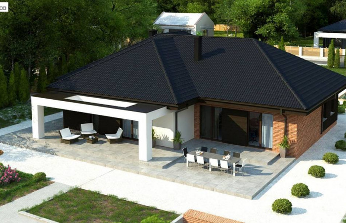 Z282 - Одноэтажный коттедж со сложной кровлей и большой комфортной террасой