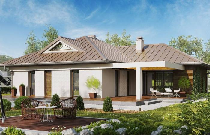 Z285 - Проект удобного одноэтажного дома с большой угловой террасой.