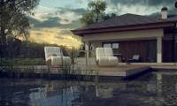 Z289 - Одноэтажный дом с многоскатной крышей, с удобным функциональным интерьером.