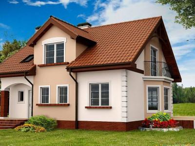 Z28 - Элегантный дом с мансардой, эркером и балконом над ним.