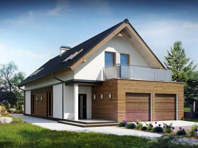 Z294 - Практичный и уютный дом простой формы для узкого участка с террасой над гаражом.