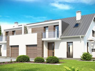 Zb6 - Современный дом для симметричной застройки с гаражом и дополнительной спальней на первом этаже.
