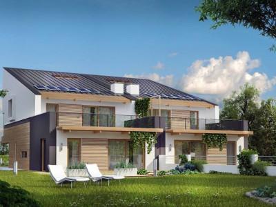 Zb8 - Дома для симметричной застройки с гаражом оригинального современного дизайна.
