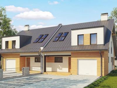 Zb11 - Проект двухсемейного дома для симметричной застройки современного дизайна.