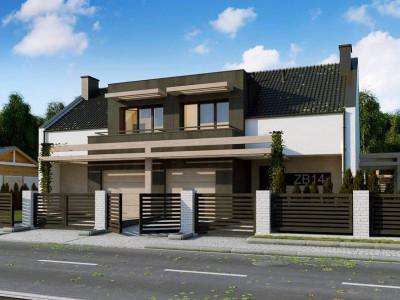 Zb14 - Проект дома дуплекс с гаражом и террасой