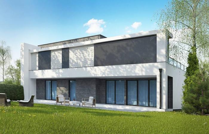 Zb16 - Современный проект домов-близнецов с большим гаражом и террасой на втором этаже.