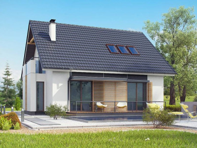 Z304 - Проект простого в строительстве дома с двускатной кровлей.