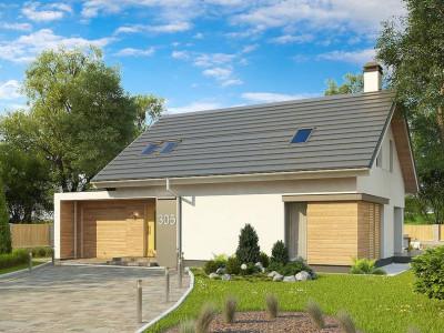 Z305 - Дом с мансардой с гаражом с левой стороны для одной машины.