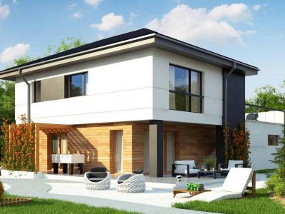 Z319 - Проект двухэтажного коттеджа с низкой четырехскатной кровлей и большой террасой на втором этаже