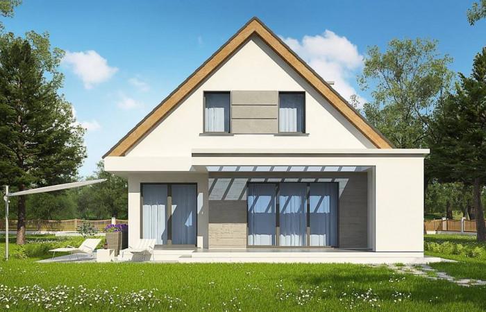 Z324 - Проект классического мансардного дома с монохромным дизайном экстерьера