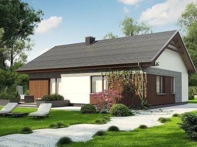 Z334 - Проект уютного одноэтажного дома с двускатной кровлей.