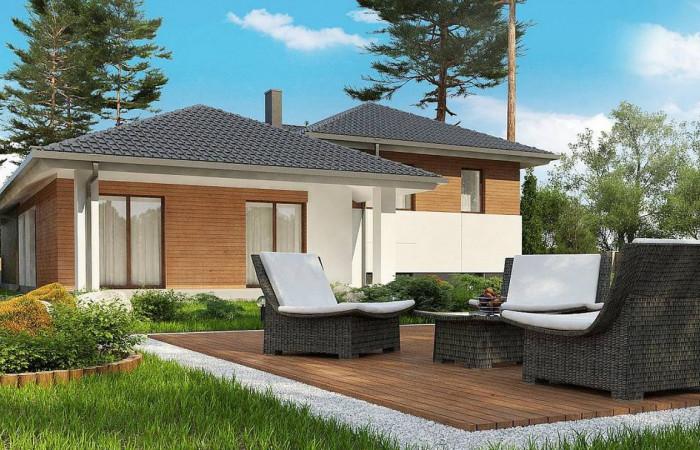 Z335 - Стильный дом с мезонином и гаражом для одной машины