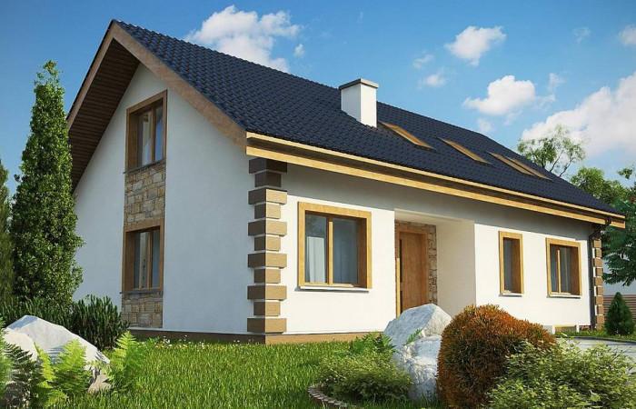 Z343 - Классический мансардный дом с двускатной кровлей и 5 комнатами.