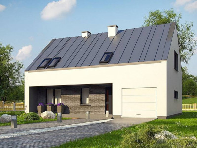 Z353 - Проект мансардного с тремя спальнями и двускатной крышей