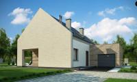 Z364 - Проект дома с мансардой, террасой на первом этаже и гаражом на одну машину.