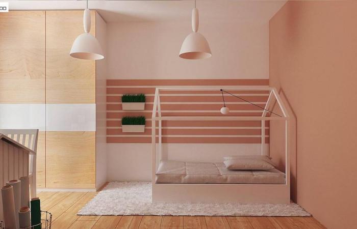 Z369 D - Аккуратный одноэтажный дом с деревянной отделкой на фасадах.