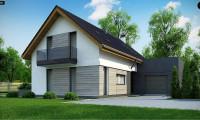 Z370 - Проект мансардного коттеджа с функциональной планировкой помещений и гаражом для одной машины.