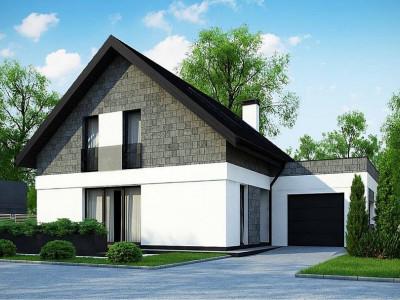 Z371 - Мансардный дом с гаражом, расположенным с фронтальной стороны фасада