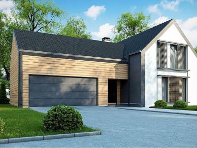 Z373 - Мансардный дом с двускатной кровлей и гаражом на 2 машины
