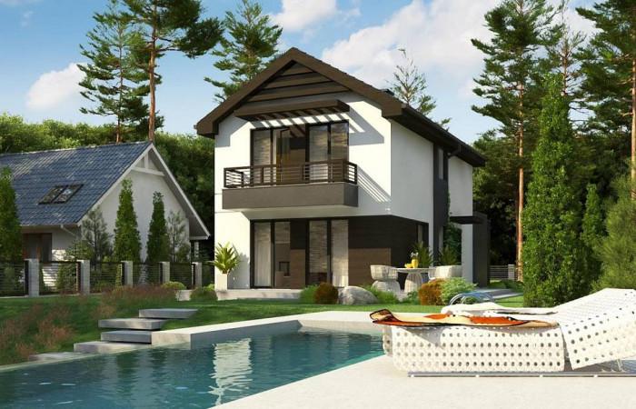Z374 - Проект двухэтажного дома в современном стиле, подойдет для строительства на узком участке.