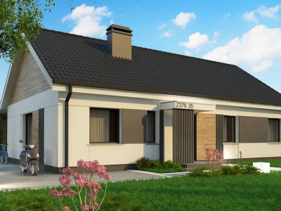 Z376 35 - Проект одноэтажного дома с 4 спальнями и двускатной кровлей