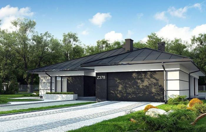 Z378 - Проект одноэтажного дома с гаражом на две машины