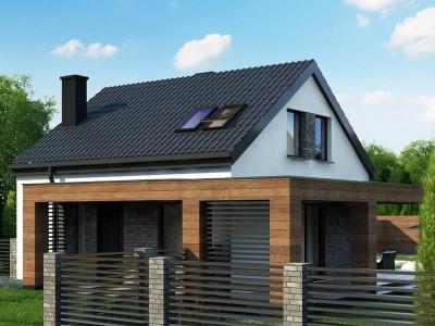 Z385 - Проект мансардного дачного дома с комнатой на первом этаже