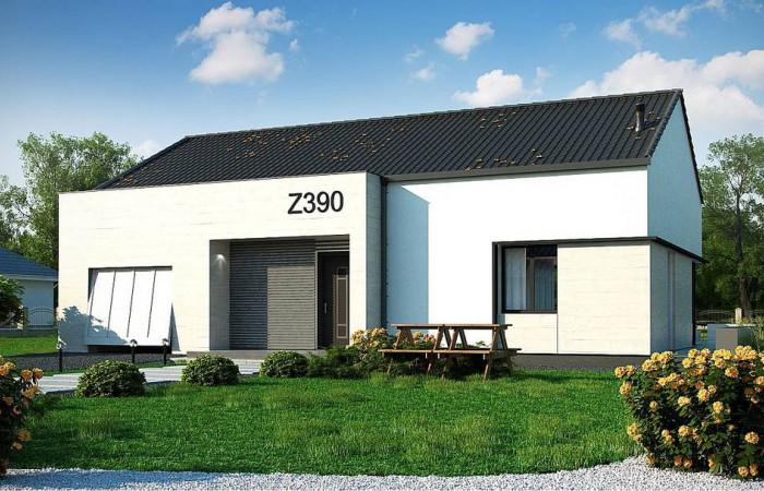 Z390 - Проект одноэтажного дома Z390 с гаражом на 1 машину и красивым белым фасадом