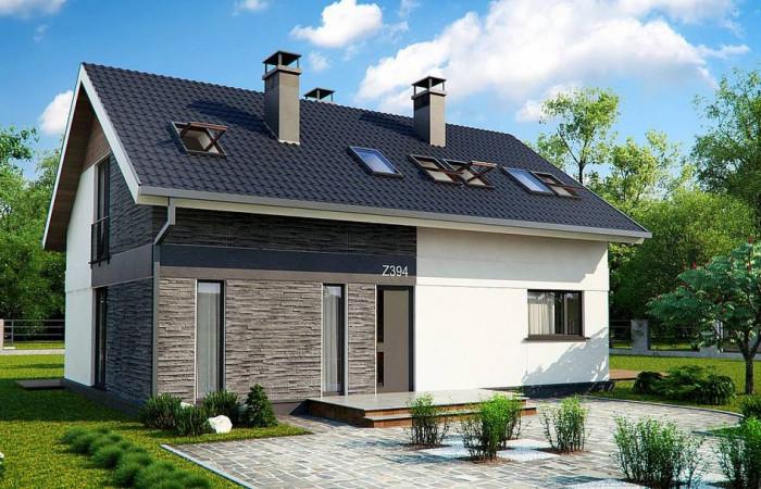 Z394 - Комфортный проект мансардного дома с панорамным остеклением в гостинной
